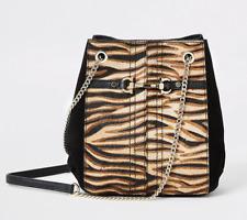River Island REAL Leather Tiger Leopard Animal Print Slouch Bag Handbag BNWT