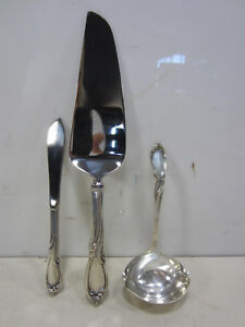 3 Pc. International Sterling Serving Peices- Ladle, Cake & Butter Knife-Rhapsody