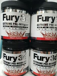 Fury 3D Extreme Pre-Workout Fruit punch - Free Delivery - 30 Serving pre workout