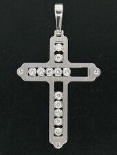 Men's 14k Solid White Gold Traveling Sliding 2.0ctw VS2 F Diamond Cross Pendant