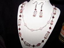 Formal/Prom - Dusty Pink Candy Cane Necklace & Earring Fashion Jewelry Set