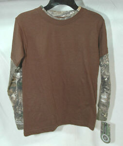 Ranger Brown &  Camo accent Youth Hunting Long Sleeve T-Shirt S or M NEW