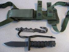 NEW Ontario 1400 ASEK Black Survival Knife & OD Sheath & Strap Cutter USA MADE