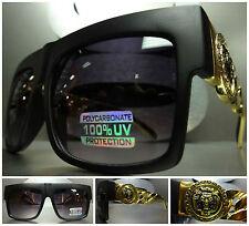 Men's Women VINTAGE HIP HOP RAPPER SUN GLASSES Matte Black Gold Chain Link Frame