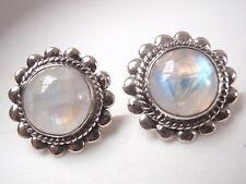 Moonstone Round 925 Sterling Silver Stud Earrings Medium Large
