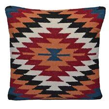 "Handmade Kilim Cushion Cover 20"" 50cm Wool Cotton Jute Indian Orange Diamond"
