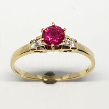 14K solid yellow gold wedding ring red Ruby & white Topaz stone size 7