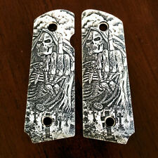 Compact Officer 1911 custom engraved imitation ivory grips Grim Reaper Flip
