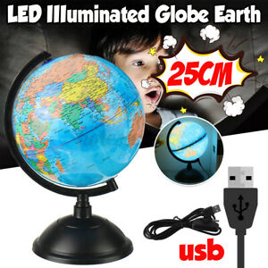 25CM World Earth Globe Map Geography Education Gift Rotating Stand LED Desk