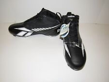 New REEBOK Black Mid-Ankle Metal Spike Cleats Leather Baseball Shoes Mens 11