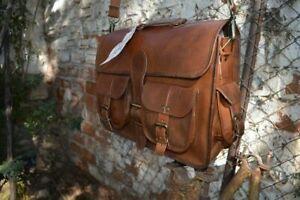 Adjustable Men's Leather Handbag Briefcase Shoulder Messenger Suitcase Bag