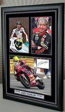 Joey Dunlop Motore Ciclo incorniciato stampa tela firmato
