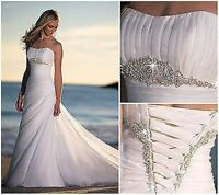 New Beach White/Ivory Organza Wedding Dress Bridal Gown Custom Size 6 8 10 12++