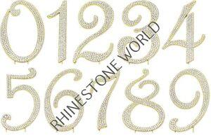 RHINESTONE GOLD CAKE TOPPER NUMBERS (1 TO 100) BIRTHDAY WEDDING ANNIVERSARY
