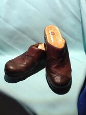 """CLARKS """"STRUCTURED"""" BROWN PATCHWORK MULES"""