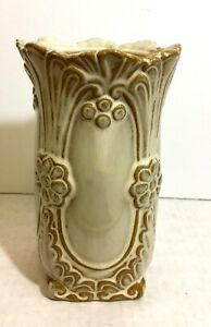 Vintage Home Decor Brush Embossed Beige Small Ceramic Vase