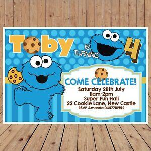 Personalised COOKIE MONSTER Sesame DIGITAL Kids Birthday Invitations YOU PRINT