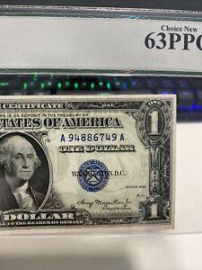 $1.00 1935  Double Date 《AA》BLOCK SILVER CERTIFICATE  PCGS UNC 63PPQ  RARE!