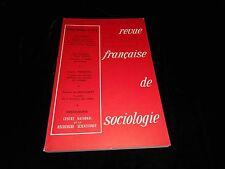 Revue française de sociologie october/December 1973