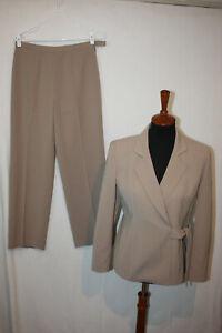 Le Suit Sz 4P Women's Beige Stripe 1 Button Lined Blazer Jacket and Pants Suit