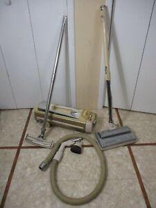 Vtg Electrolux Super J Model 1401 Golden Canister Vacuum Cleaner & Attachments