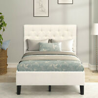 Solid Wood Linen Platform Bed, Twin Size Upholstered Bed Frame with Headboard