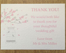 25 Personalised Vintage Wedding Thank you cards butterfly birdcage - handmade #2