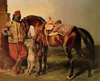 Oil painting Alfred Dedreux - African Groom Holding young man & horse dog canvas