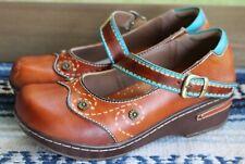 L'Artiste Spring Step Sugar Cane Brown Tooled Leather Shoe, EUR 37, USA 7