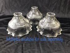 Vtg Holophane Style Glass Lamp Shade Ribbed Ruffle Prismatic Pendant 4.5x7 2 1/4