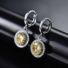 HUCHE Classic Yellow Sapphire Topaz White Gold Filled Lady Wedding Party Earring