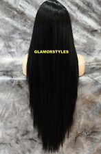 Very Long Straight Layered Off Black Full Lace Front Wig Heat Ok Hair Piece #1B