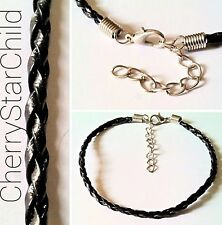 genuine leather black plaited cord bracelet chain for charm secure ca get wet