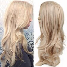 Natural Wavy two tone Ombre light ash blonde full Womens Hair Wig + Highlights