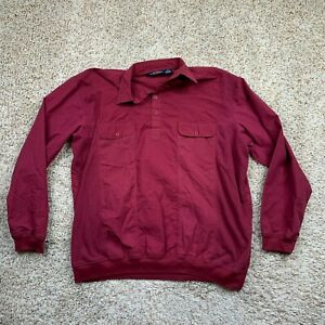 Canyon Ridge Shirt Mens 2XLT Maroon Elastic Cuffs Hems 1/4 Button Long Sleeve