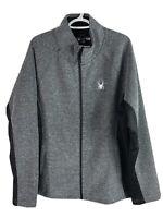 Spyder Fleece Jacket Mens XL Gray Black Full Zip Polyester Brand New MSRP $129