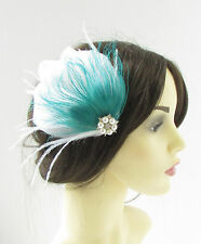 White Turquoise Silver Peacock Feather Fascinator Hair Clip Bridal 1920s Vtg 332