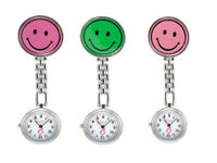 Smiley Face Nurses Doctors Midwives Pocket Clip On Fob Brooch Quartz Watch UK