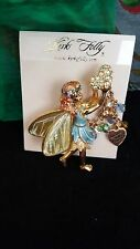 Kirks Folly Blue Enamel & Swarovski Crystals Fairy Brooch.