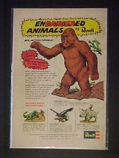 REVELL ENDANGERED ANIMALS PLASTIC TOY MODEL KITS ART PRINT AD~ ORIG VINTAGE 1974
