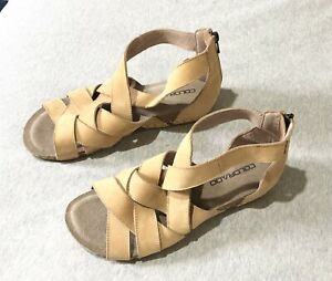 COLORADO - Tan Beige Leather Comfort Sandals Size 9 40 Brand New RRP $129.95