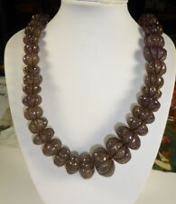 OLD REAL MELON BEAD AMETHYST NECKLACE. NATURAL UNHEATED. From NEPAL  816 CTS.