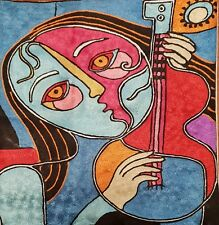 """Silk Cushion Cover from Kashmir Abstract Picasso Music Guitar Design 18"""" x 18""""."""