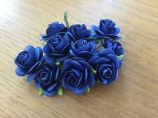 10 ROYAL BLUE ROSE.  2.5cm Mulberry Paper Flowers wedding crafts card