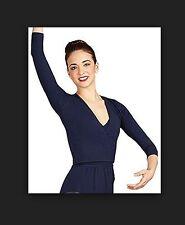 Capezio Women's Cross-Over Top Longsleeve Navy Ballet Dance Jazz szM BNWT (17)