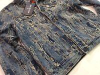True Religion Men Tattered Ripped Distressed Shredded Artist Jean Trucker Jacket