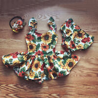 US Newborn Kids Baby Girl Flower Outfit Clothes Top Dresses+Panties Clothes Set