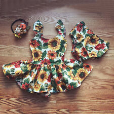 UK Infant Toddler Baby Kid Girls Outfits Floral Sundress+Short Pants Clothes Set