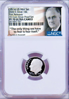 2020 S Proof 10C Silver Dime NGC PF70 UCAMEO in 10-coin-set Roosevelt label FR