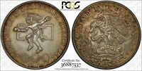 1968-MO MEXICO 25 PESOS OLYMPIC PCGS AU58 CIRCLE TONED ONLY GRADED HIGHER!